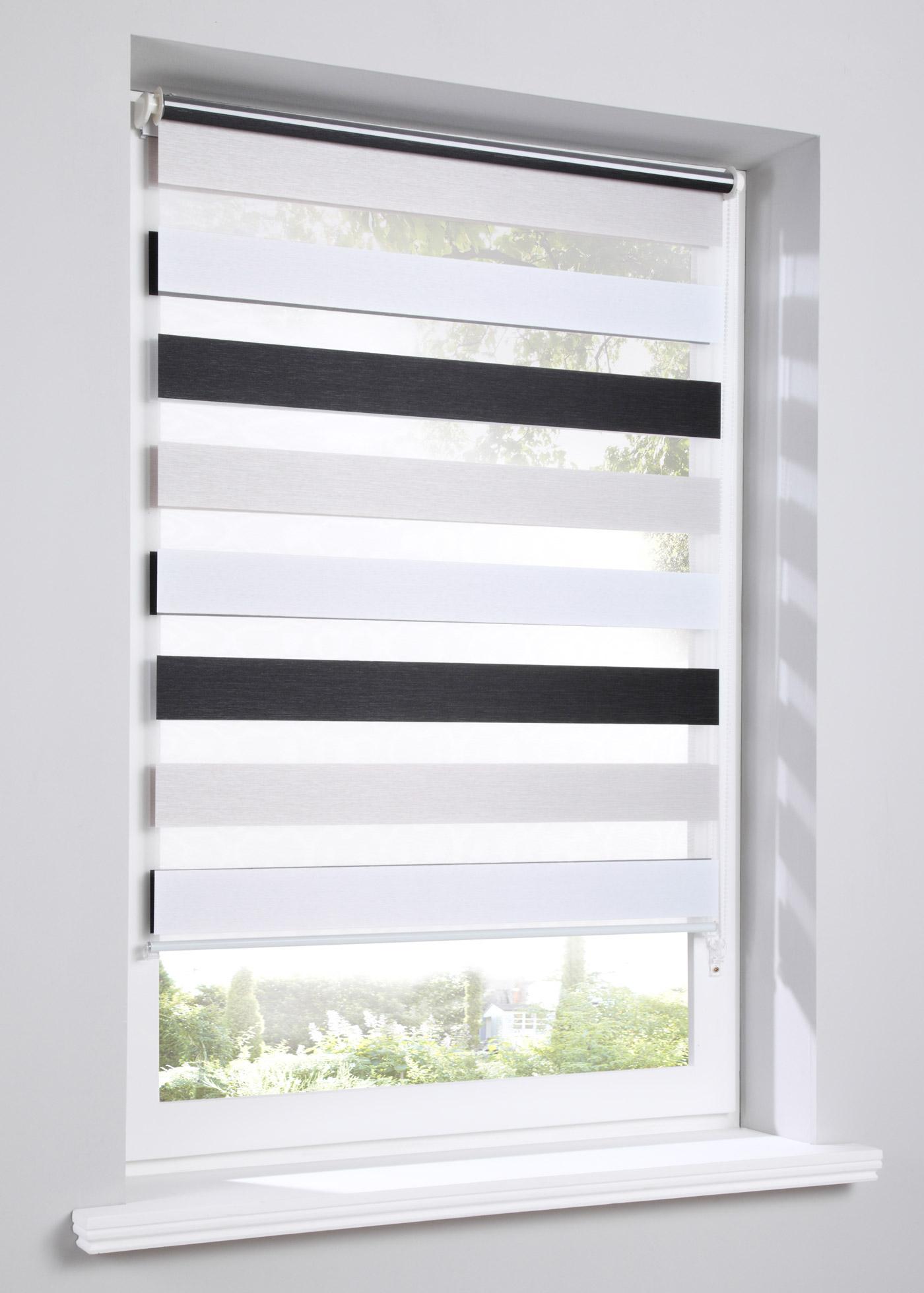 """Store double à rayures, pose facile - sans perçage - se clipse directement sur le cadre de la fenêtre (pour un châssis de fenêtre jusqu""""à 1,6 cm), cordon sur la droite, deux bandes de tissu parallèles se superposent ou juxtaposent en continu pour obt"""