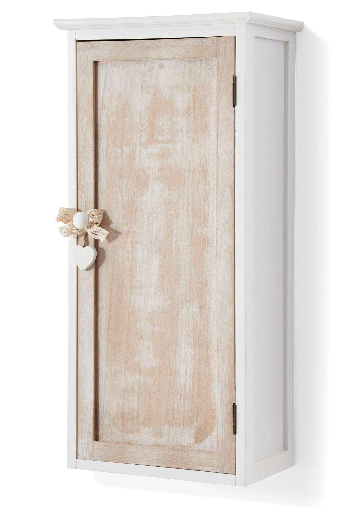 """Armoire murale. La porte ouvre sur une tablette réglable. Poignée dotée d""""un cœur en bois. Article livré monté. Matériel de montage mural non fourni."""