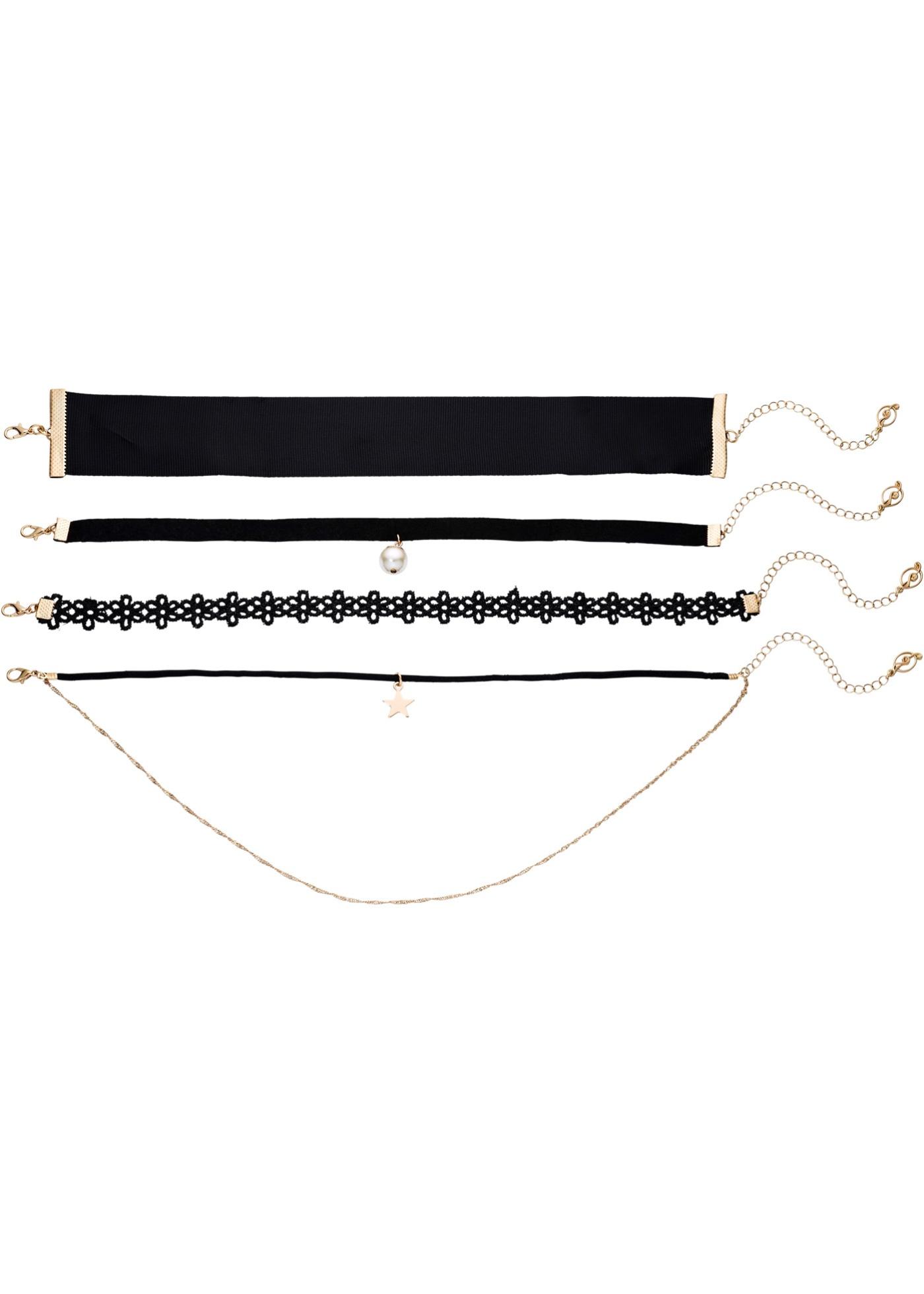 La tendance du moment ! Le set comprend 4 colliers ras du cou de différentes largeurs. Combinaison de matières en textile et métal.