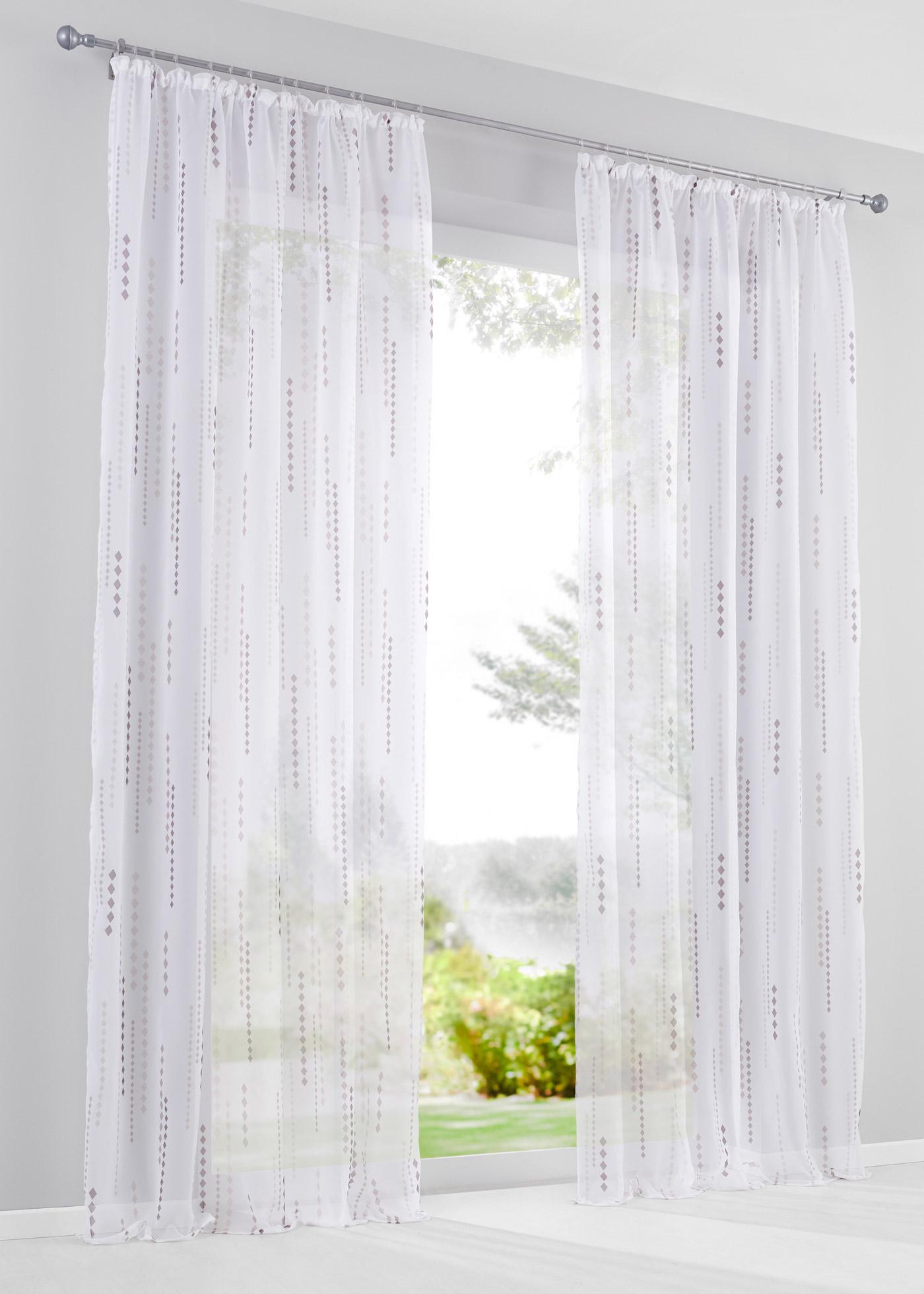 Imprimé agréable sur voile transparent, dimensions = dimensions du tissu, hauteur pattes comprise.