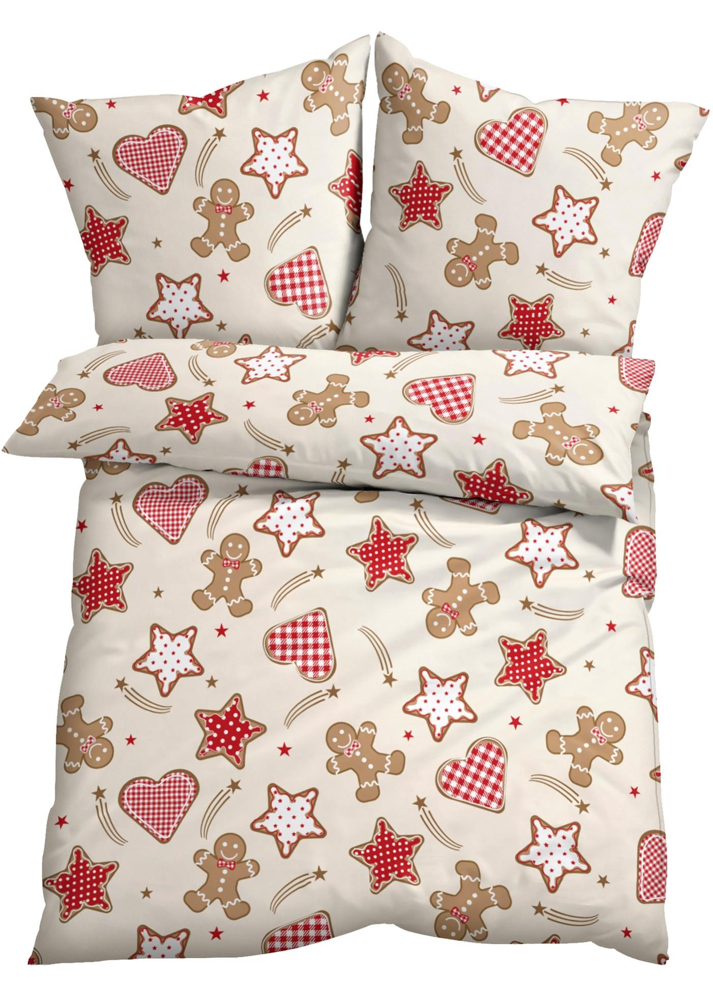 Linge de lit imprimé avec des motifs de Noël.