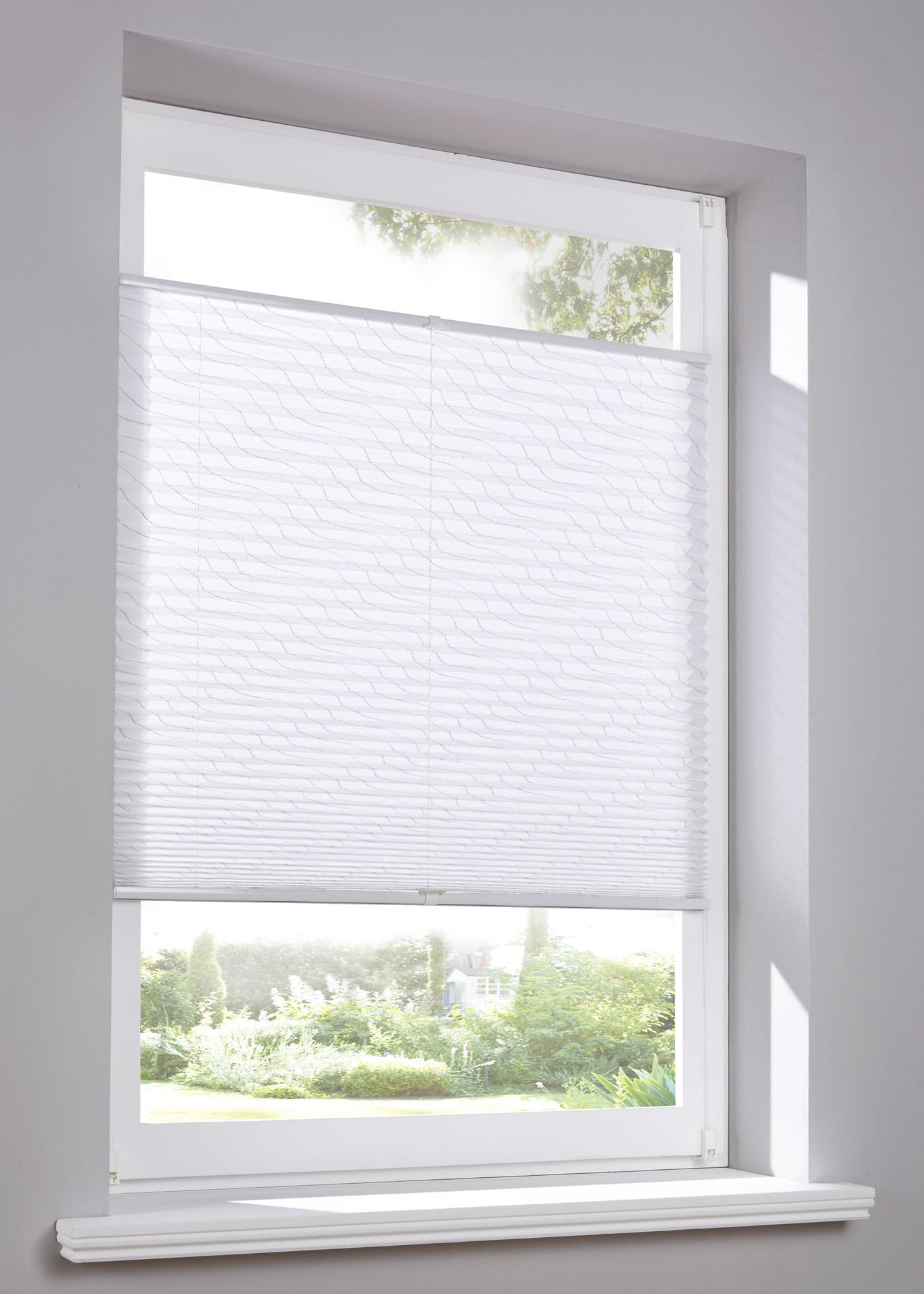 Store plissé opaque avec strass décoratifs, protection contre les regards extérieurs sans assombrir votre pièce, installation simple sans perceuse ni vis, se monte directement sur le cadre de fenêtre grâce à un système de pinces à clipser (pour une épaiss