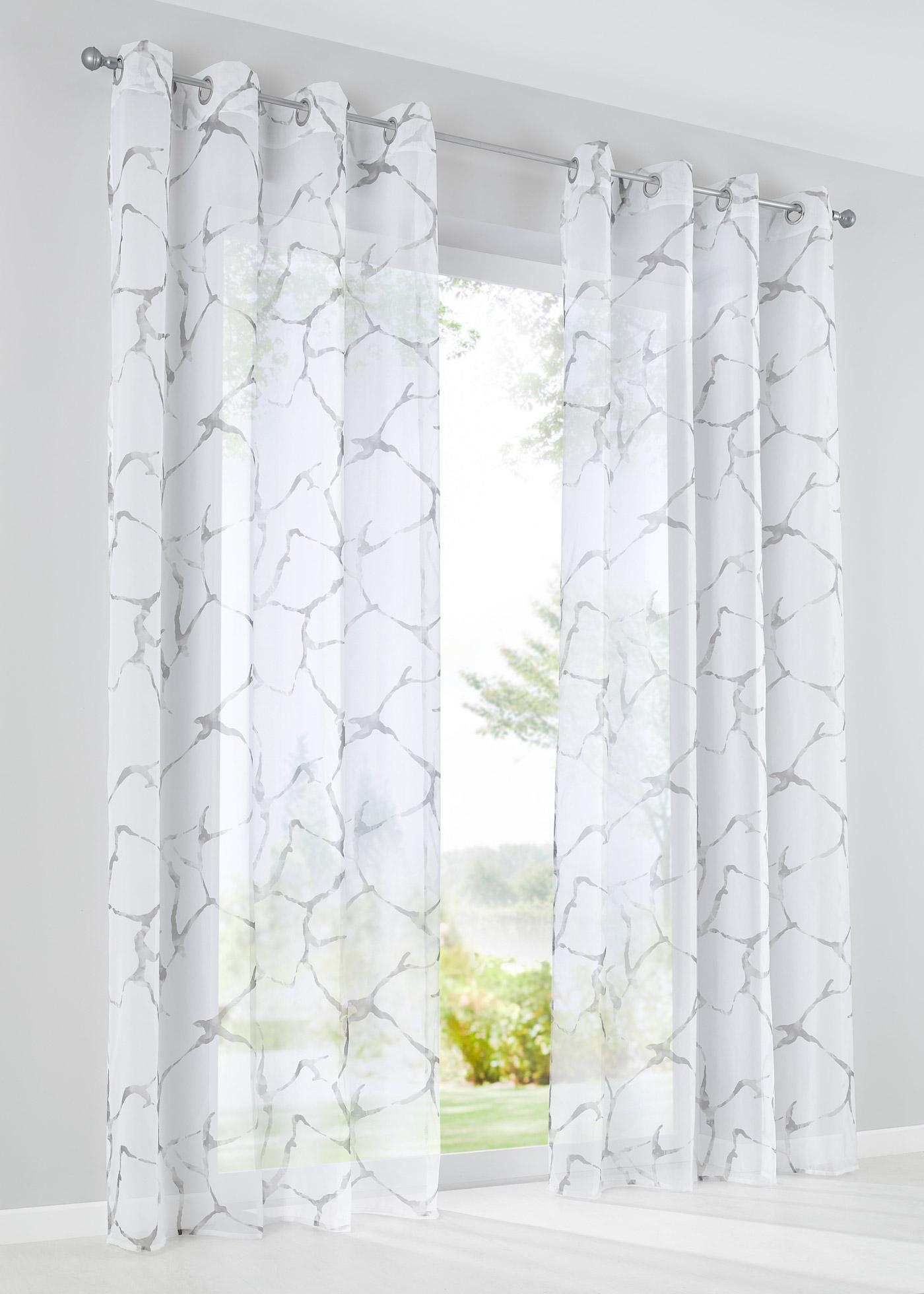 Voilage transparent, imprimé, dimensions = dimensions du tissu.