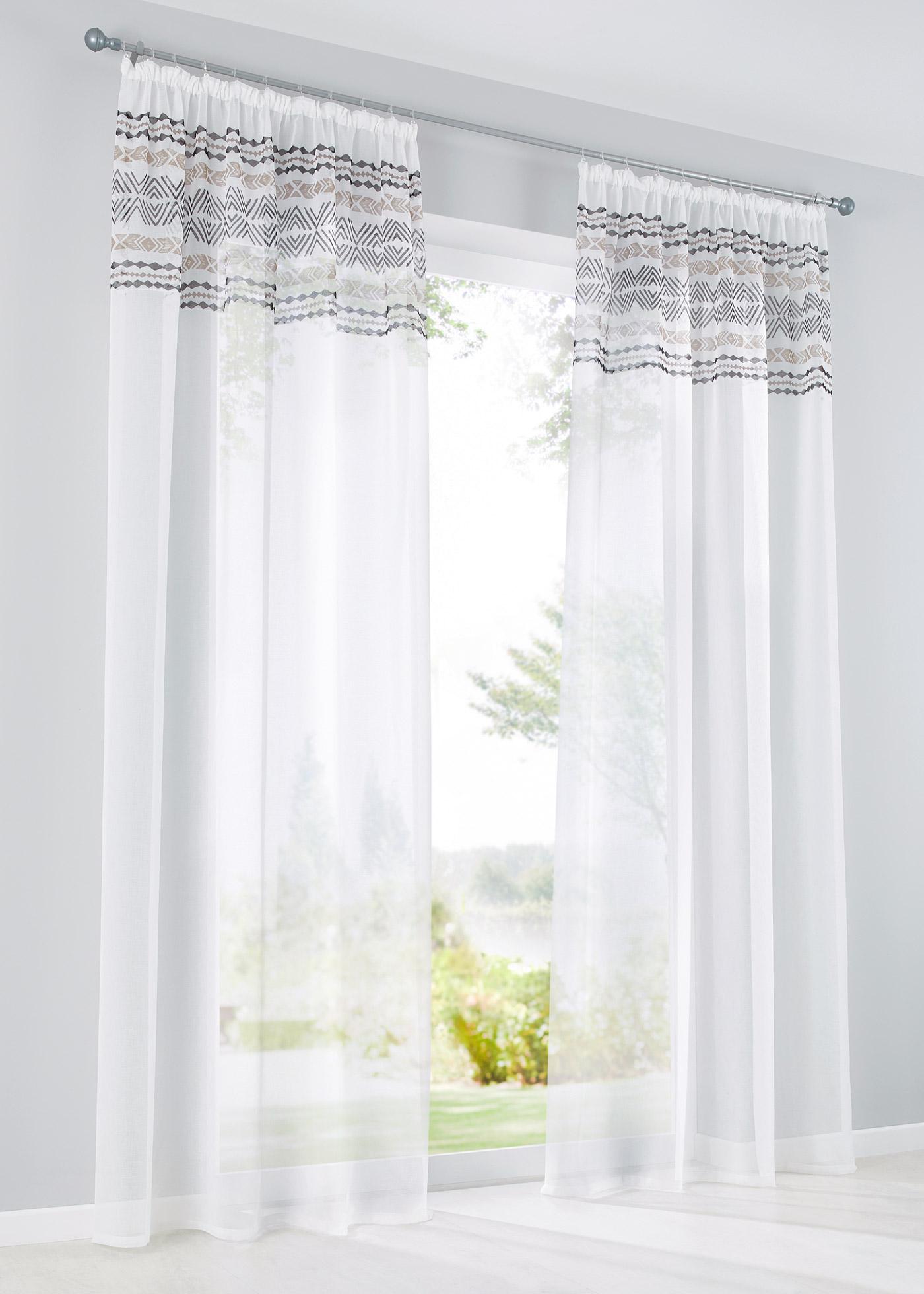 Voilage transparent à bordure imprimée, dimensions = dimensions du tissu.