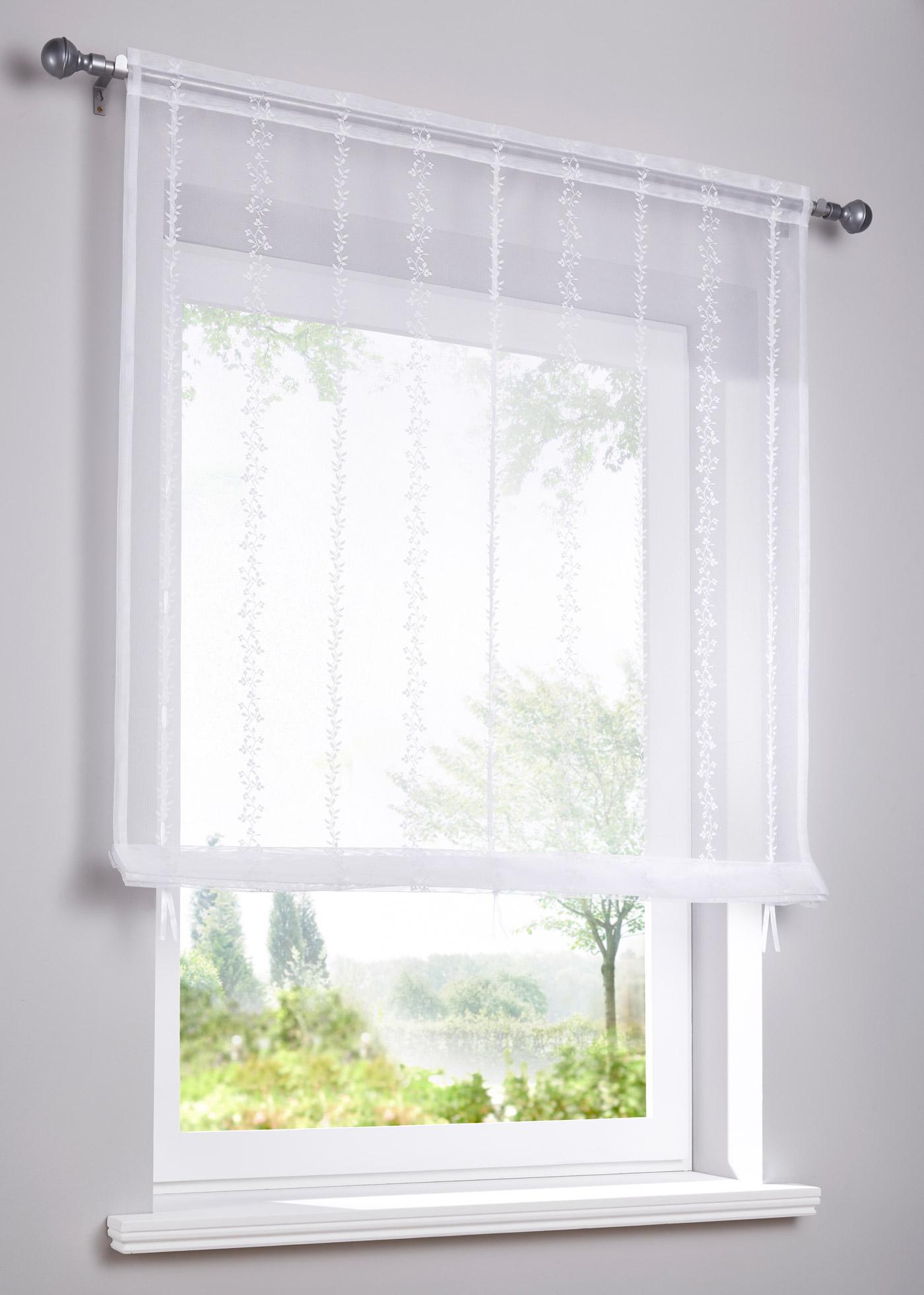 Store à nouer en jacquard transparent de qualité élevée, motif féminin, dimensions = dimensions du tissu, accrochage par coulisse passe-tringle, barre de lestage incluse.