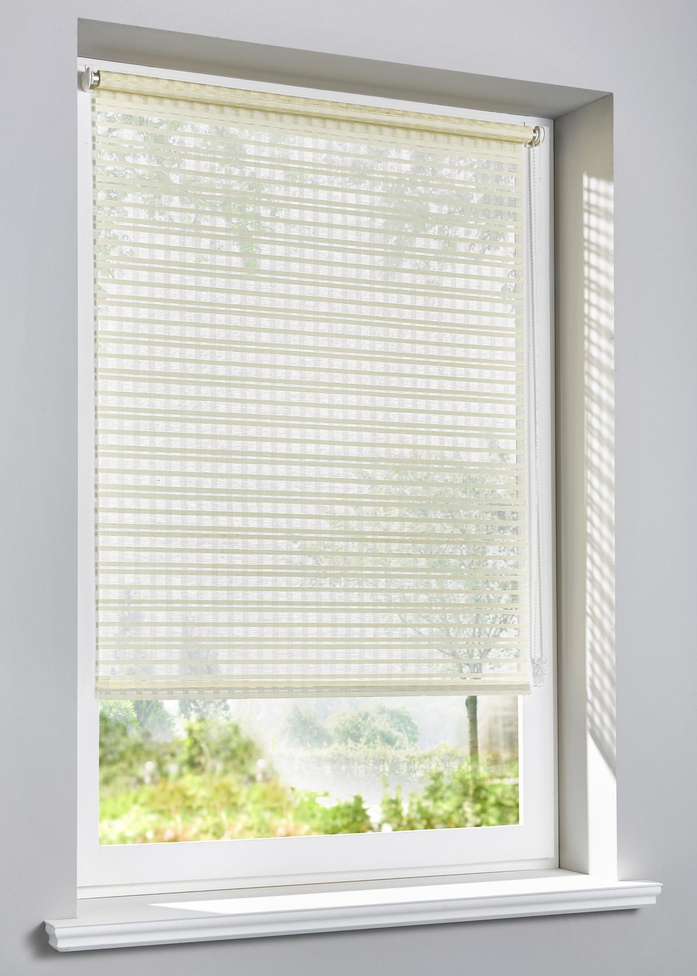 """Store brise-vue à clipser design naturel, hauteur modulable en continu, manoeuvre à l""""aide d""""une chaînette (à monter à droite ou à gauche), se clipse directement sur le cadre de la fenêtre, convient pour un châssis de fenêtre d""""une épaisseu"""