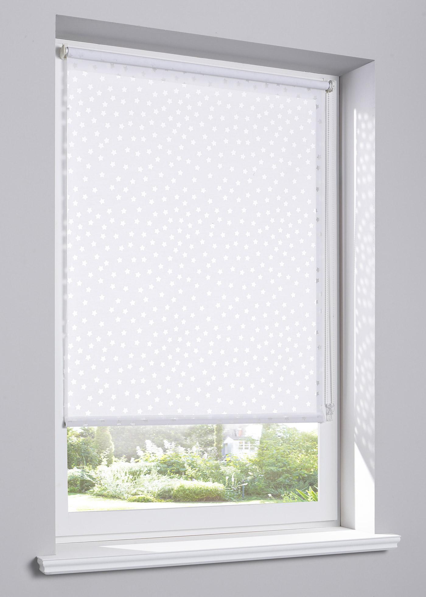 Store à clipser, coulisse latérale, avec motif dévoré, en tissu mélangé léger pour protéger légèrement de la lumière et des regards extérieurs, pose facile - sans perçage ni vissage - se clipse directement sur le cadre de la fenêtre, convient pour un châs