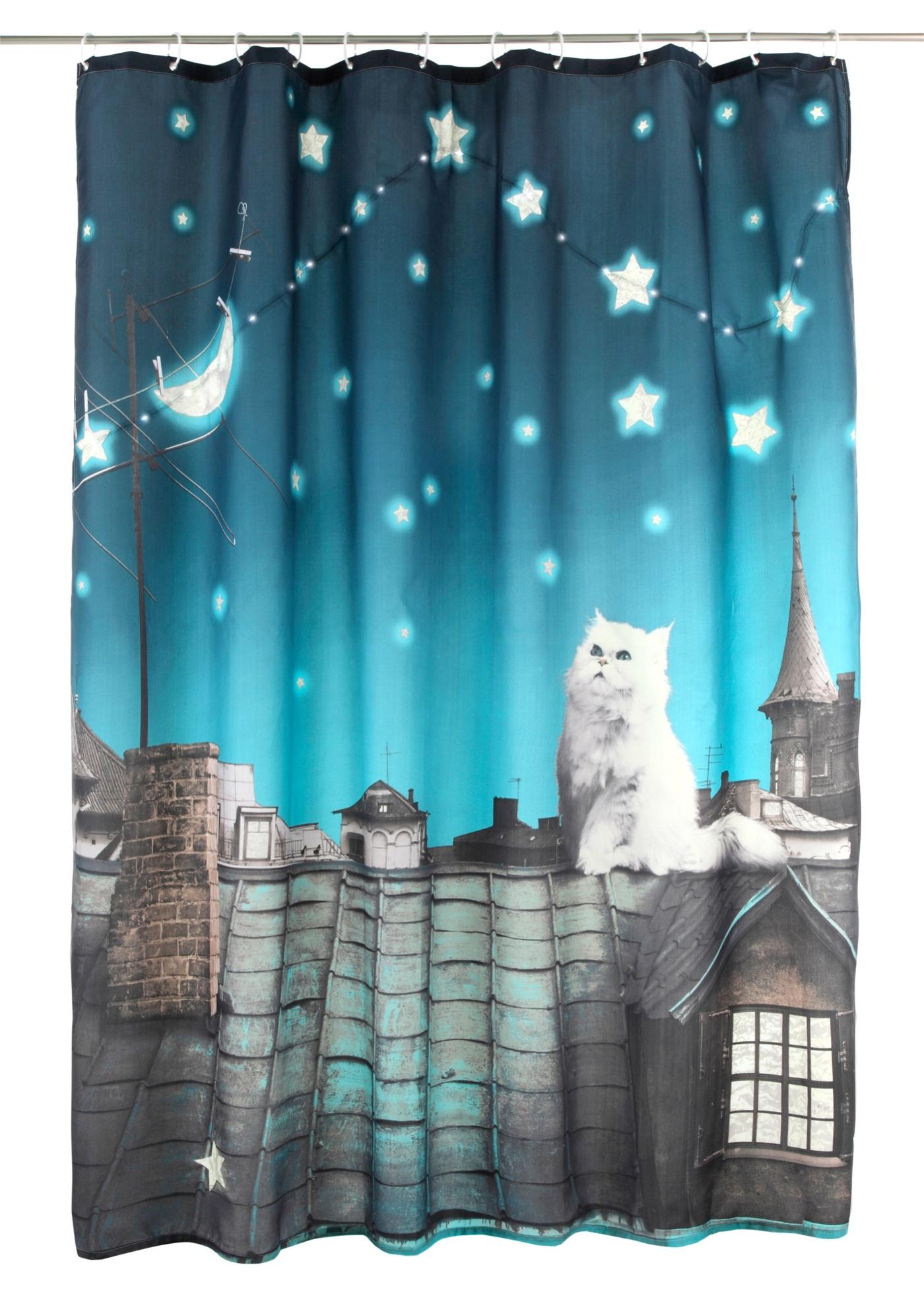 """Un effet garanti dans chaque salle de bain - et pas seulement pour les fans de chats ! Rideau de douche exceptionnel orné d""""une belle impression photo et éclairé par 21 ampoules LED. S""""illumine automatiquement grâce à un capteur acoustique. Arrê"""