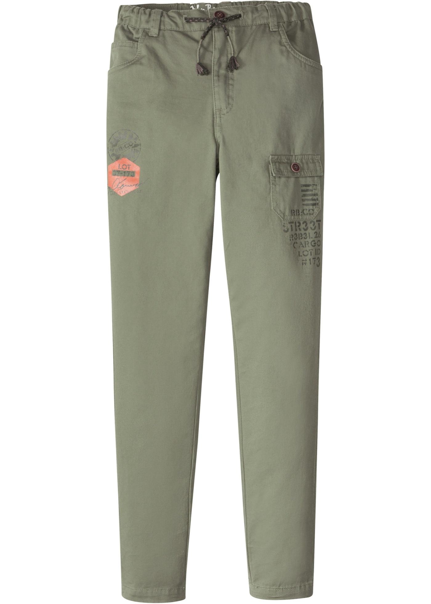 Pantalon avec effets usés et imprimé, large