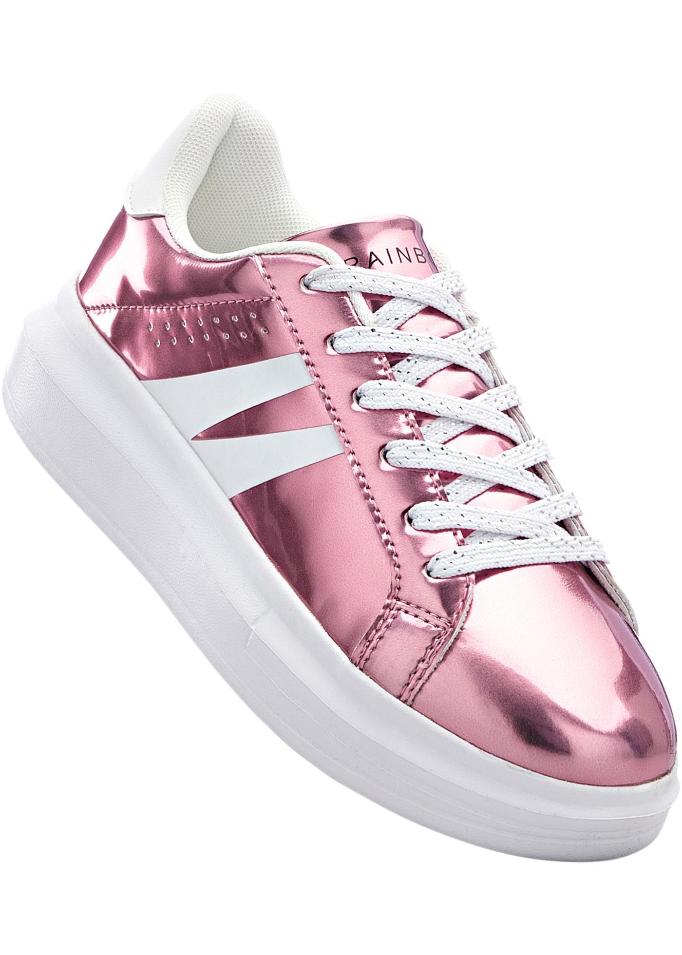 Sneakers à plateau avec semelle extérieure légère, aspect métallique.