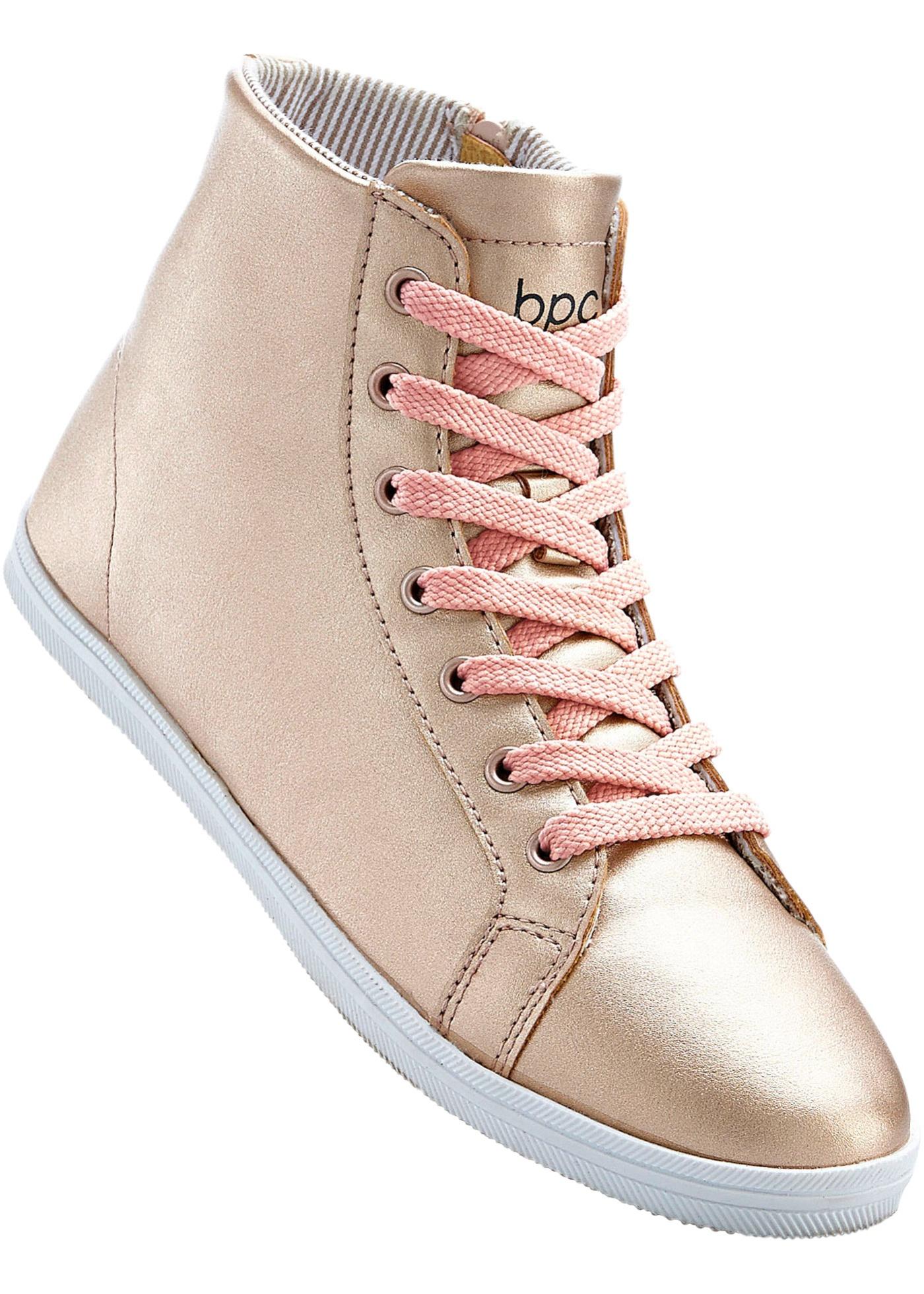 Sneakers à lacets avec zip sur le côté, look métallique, semelle extérieure légèrement profilée.