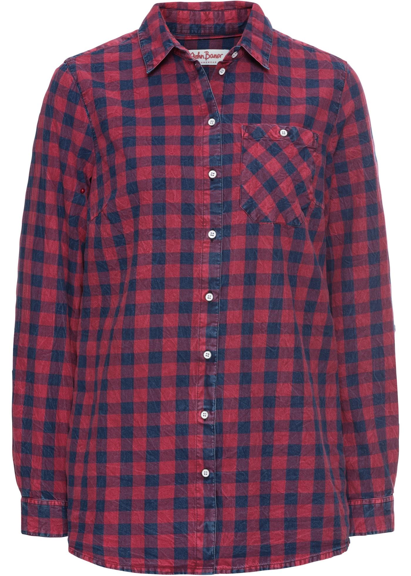 Chemise à carreaux effet délavé, manches longues