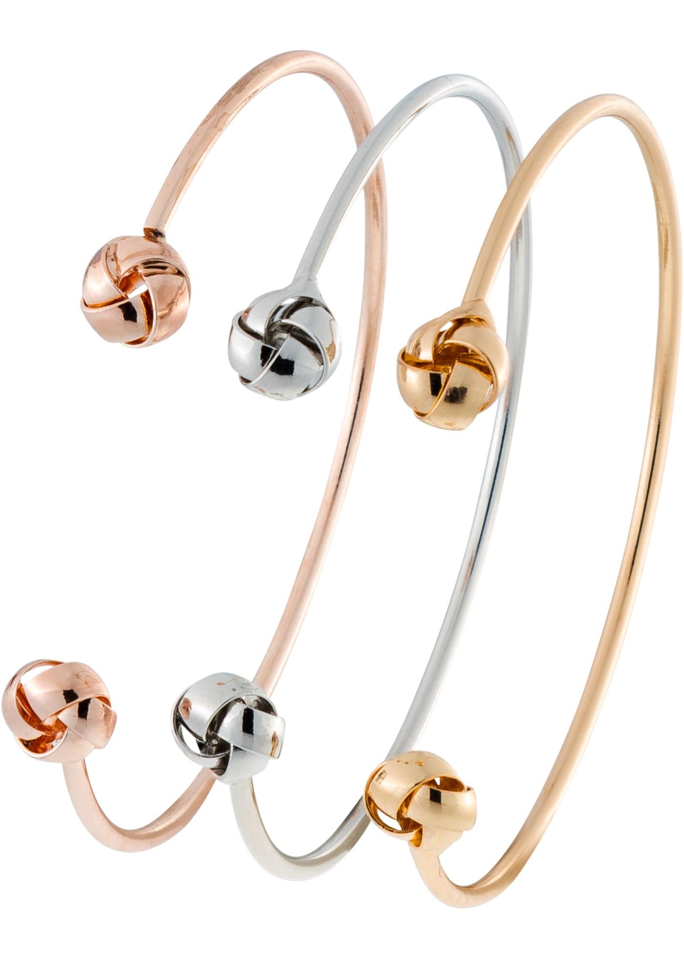 Un bijou mode irrésistible ! Ensemble de 3 bracelets joncs ouverts tricolore. Tour de poignet env. 20 cm.