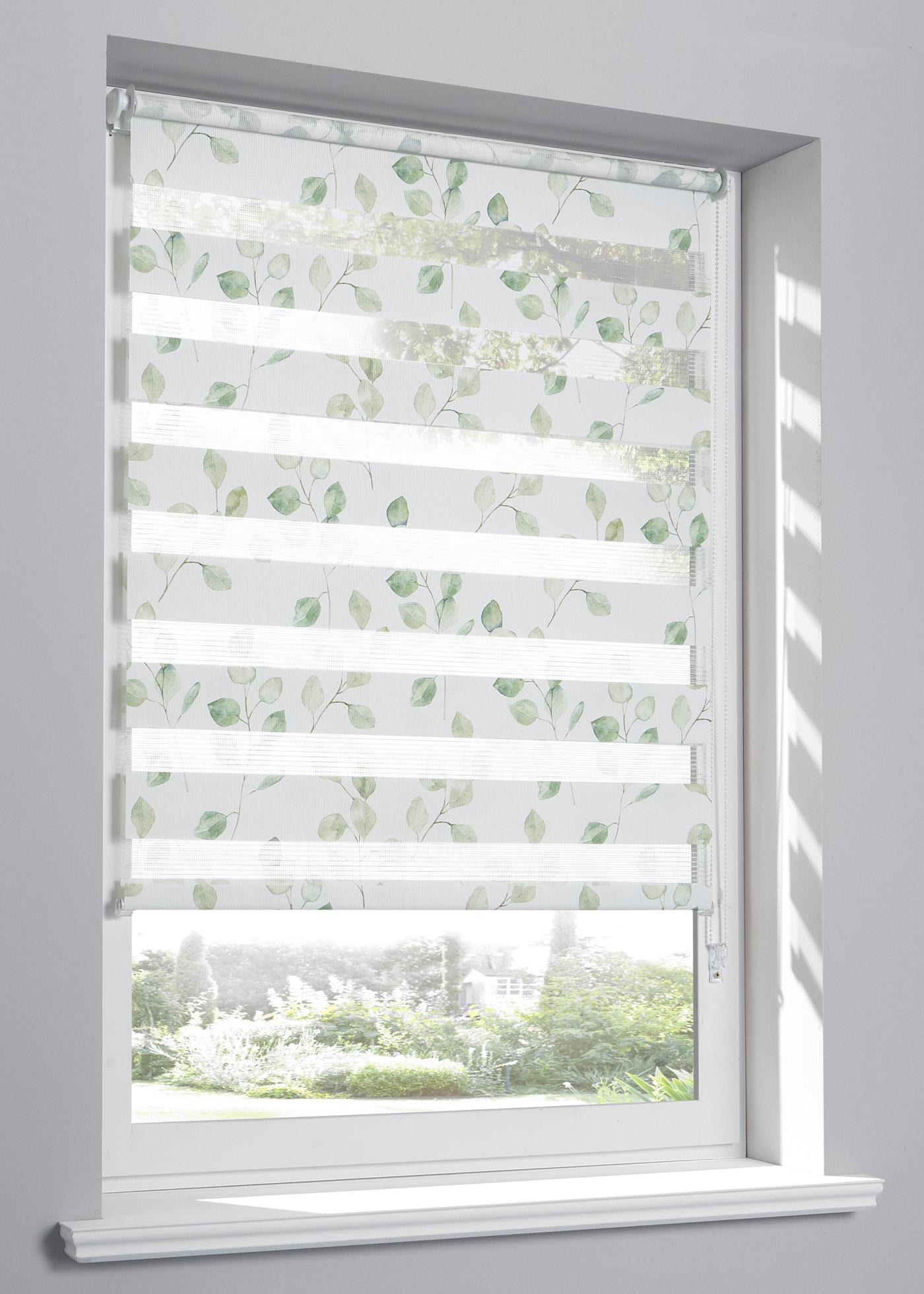 """Store double, protège de la lumière sans occulter, pose facile - se clipse directement sur le cadre de fenêtre (épaisseur de châssis jusqu""""à 1,6 cm) - cordon sur la droite, les deux bandes de tissu se superposent ou juxtaposent pour obtenir différent"""