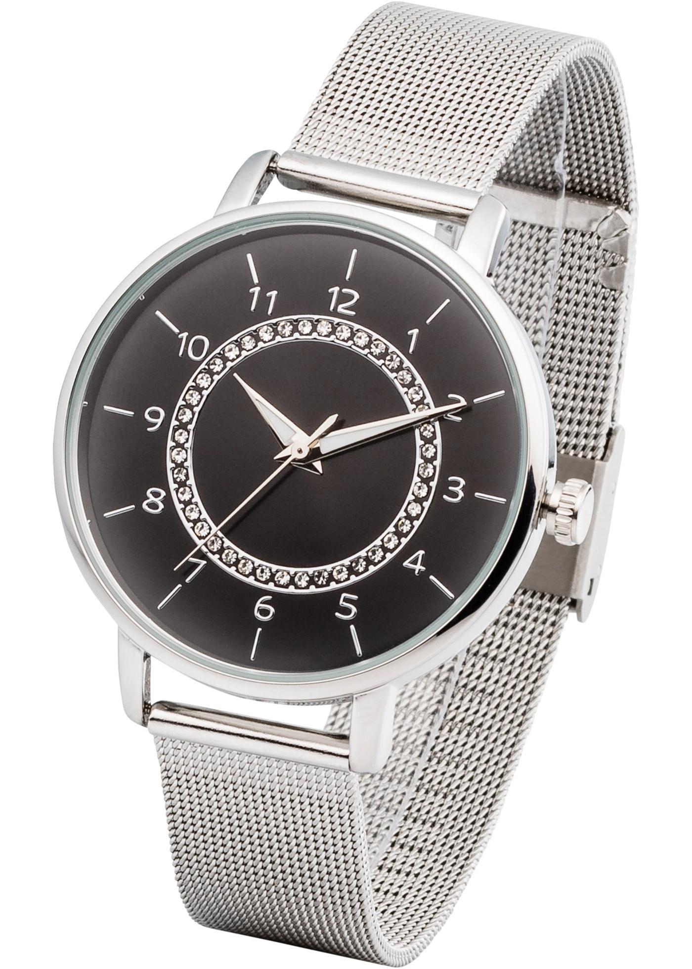 """Cette montre avec bracelet en mesh et strass s""""associe avec chaque tenue. Diamètre boîtier 3,7 cm, diamètre cadran 3,3 cm. Prix comprenant éco-participation (F)=0,01€ ou recupel (B) =0,05€."""