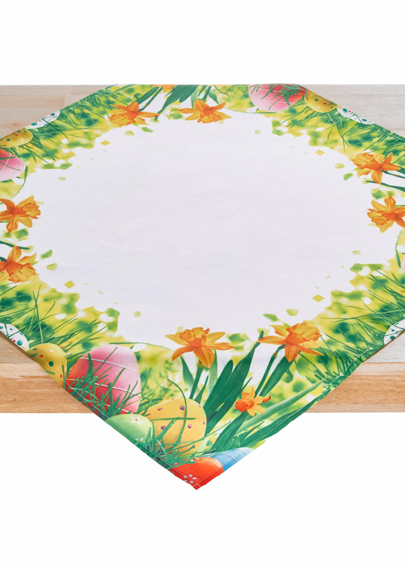 Imprimé fleurs et œufs de Pâques, 85x85 cm.