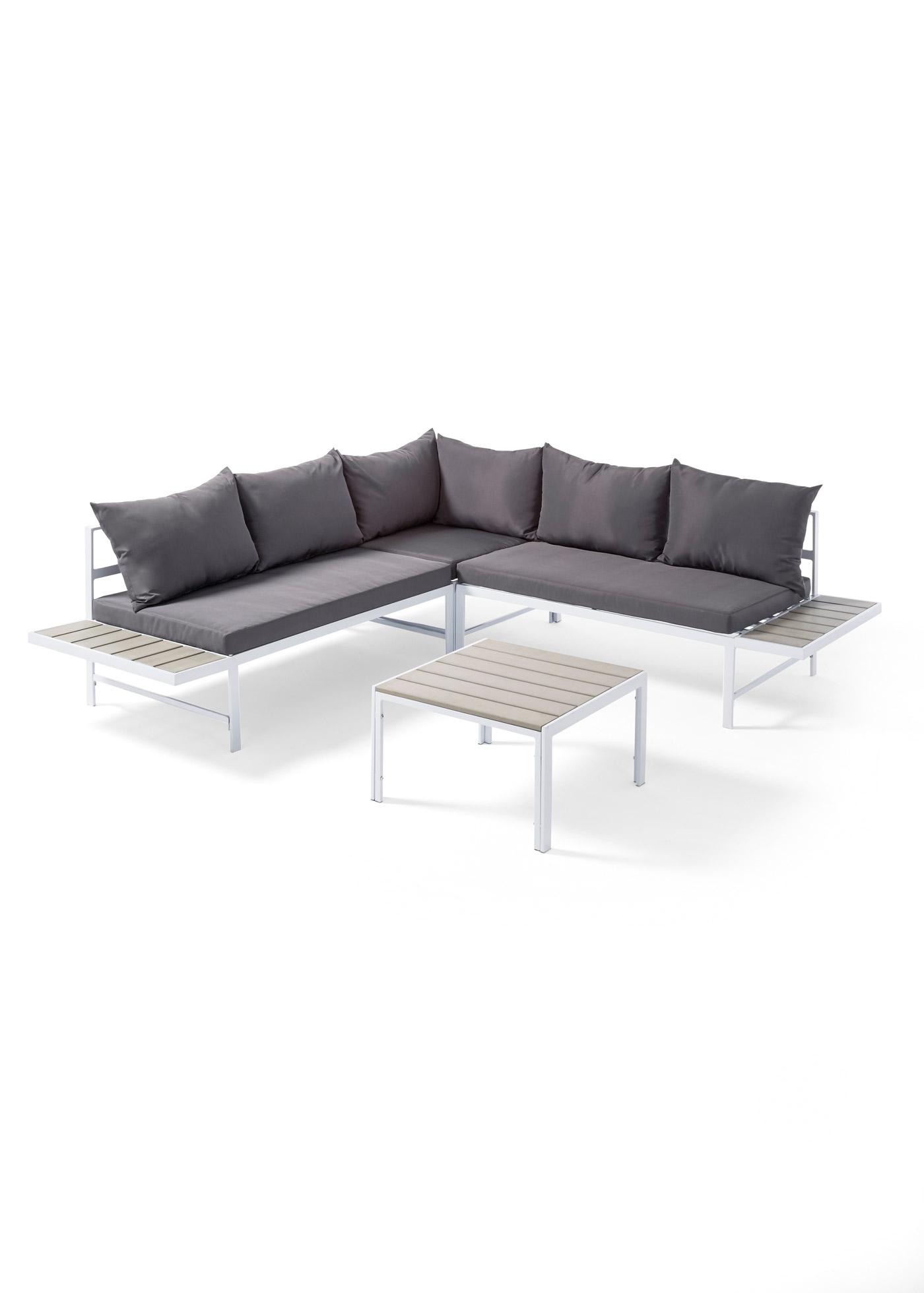 """Salon de jardin lounge en imitation bois avec structure en métal, comprenant un canapé d""""angle et une table. Hauteur d""""assise env. 40 cm. Avec matelas, env. 8 cm d""""épaisseur et coussins env. 16 cm d""""épaisseur. Capacité de charge totale"""