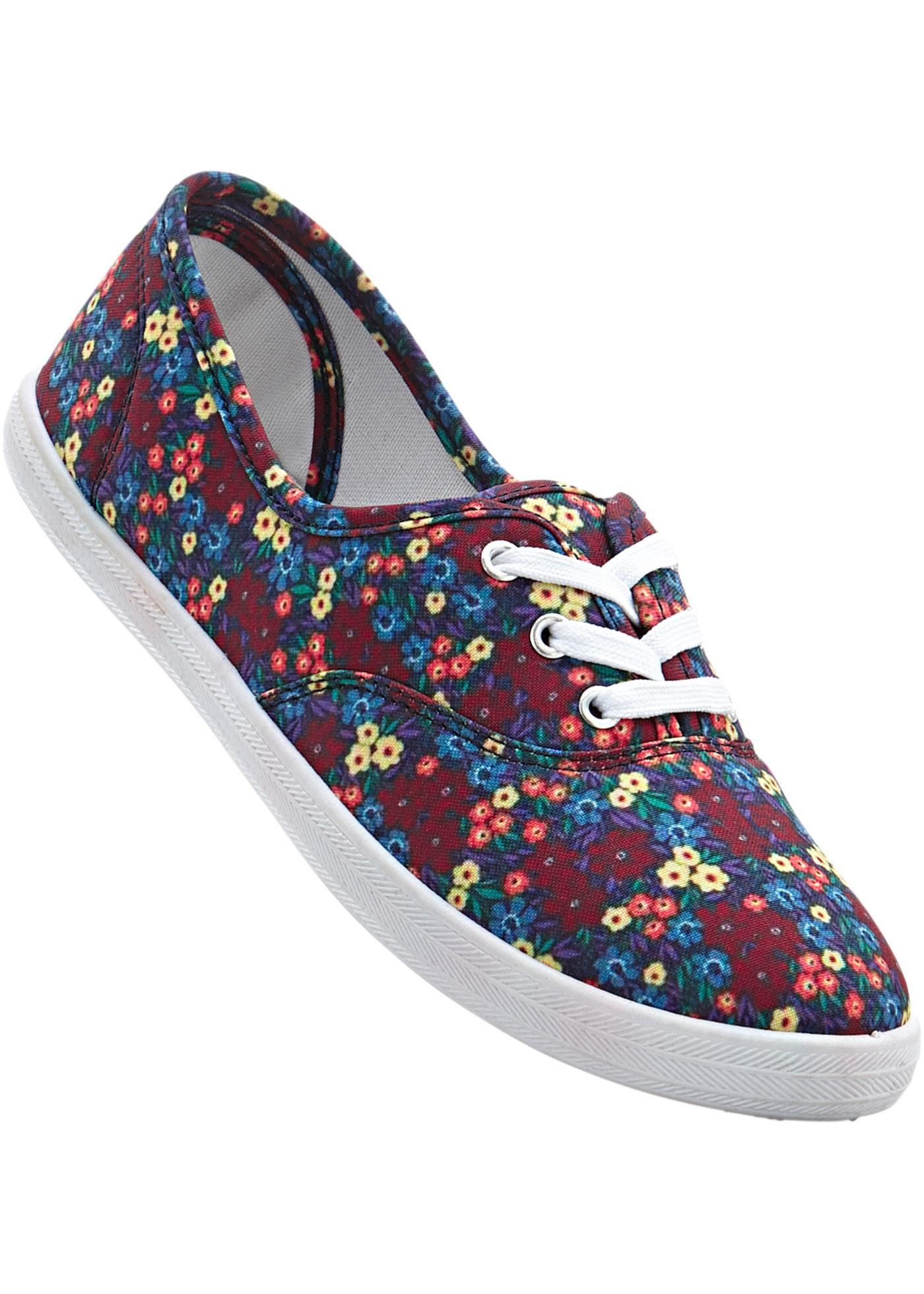 Chaussures de loisirs à lacets, imprimé fleuri, style mode et facile à vivre.