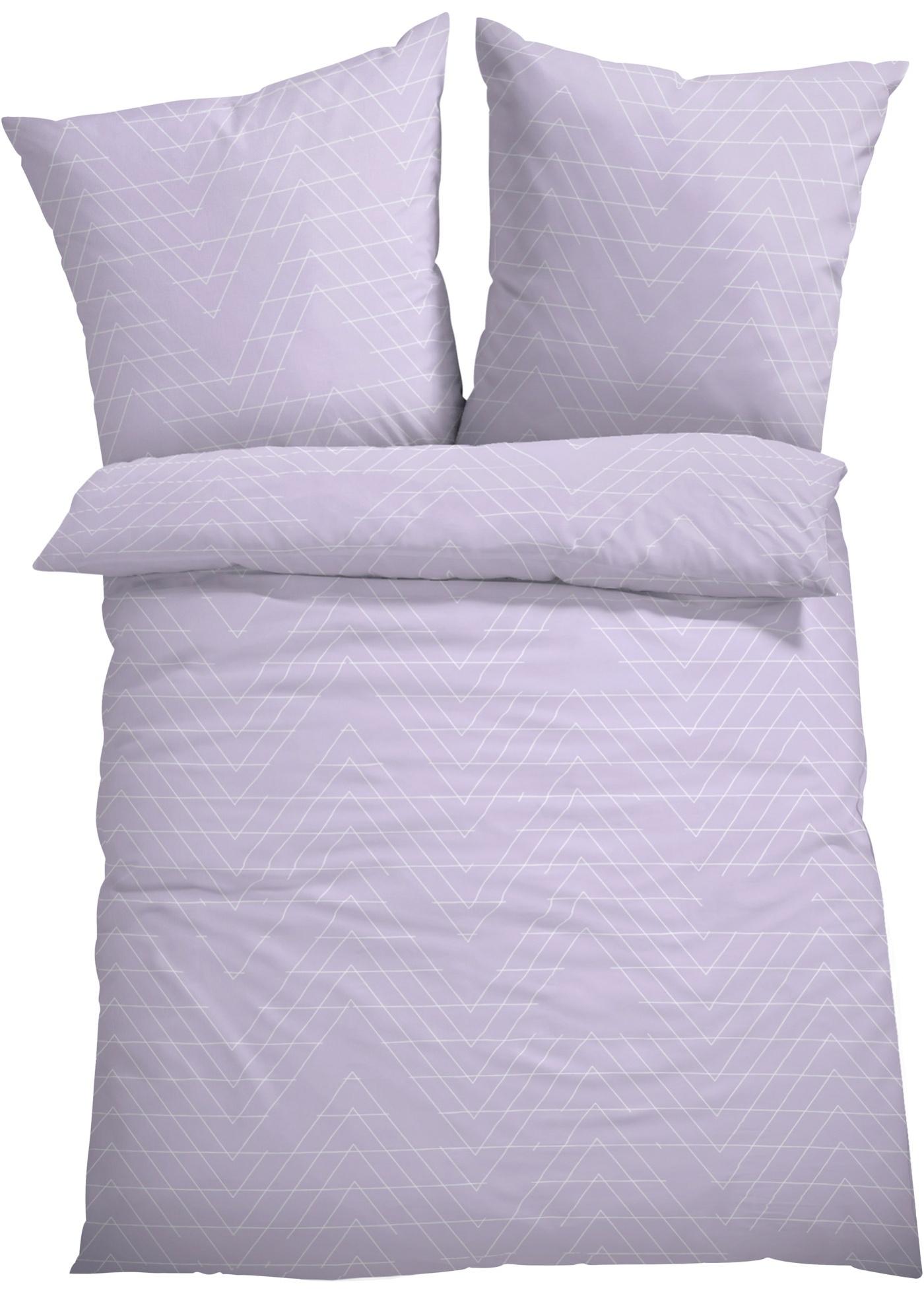 Linge de lit imprimé avec motifs zigzag.