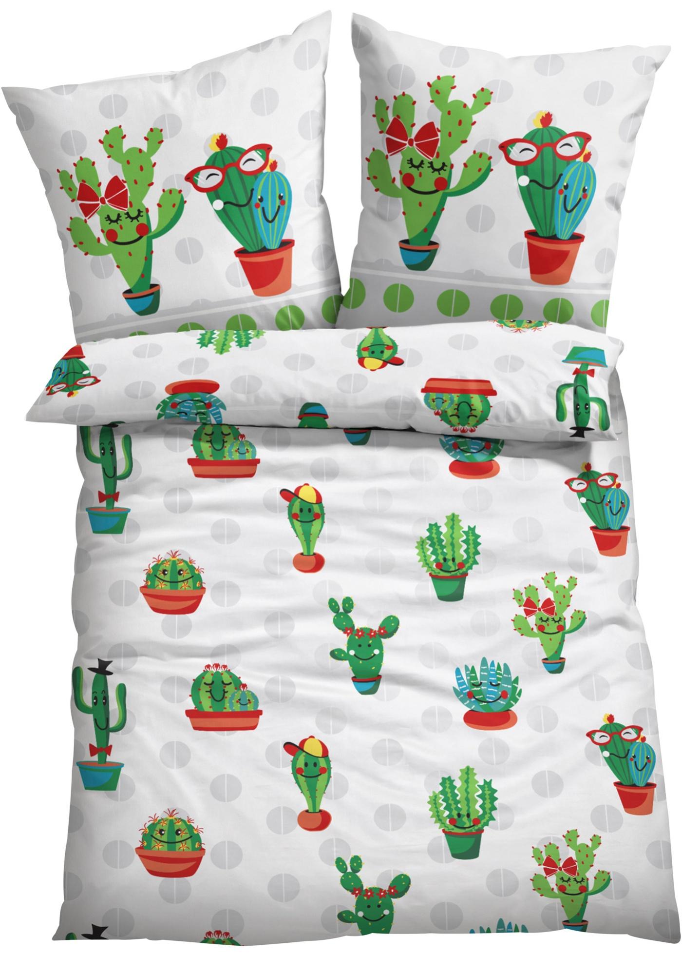 Linge de lit imprimé avec motifs cactus humoristiques.