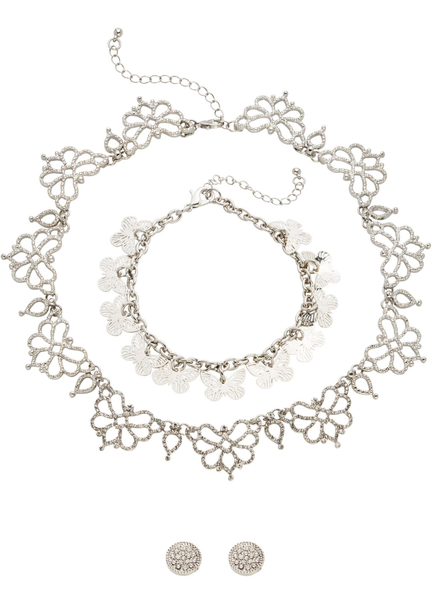 Parure de bijoux strassés (Ens. 3 pces.)