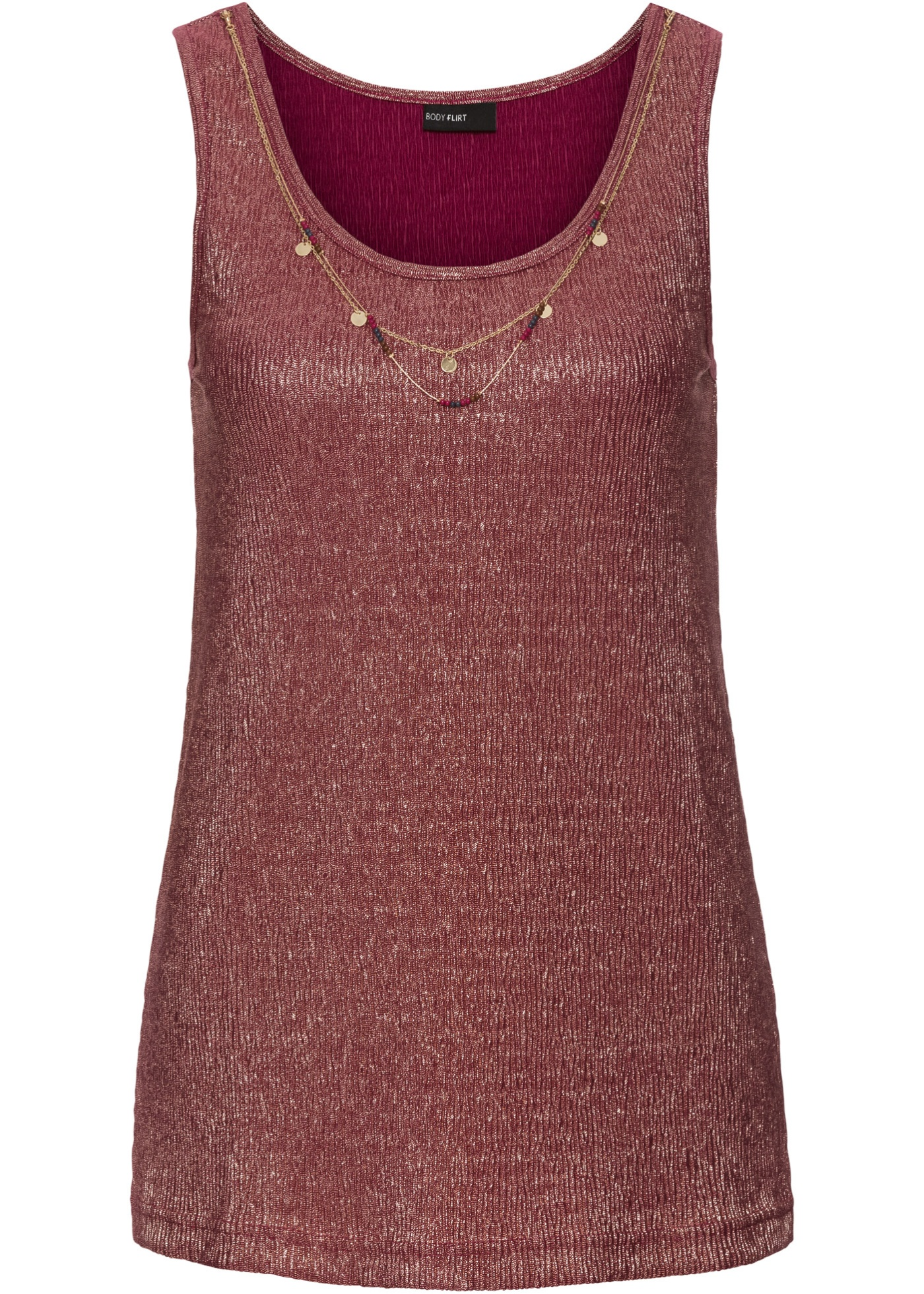 """Joli top brillant agrémenté d""""un collier à l""""encolure pour le détail original. Long. env. 64 cm."""