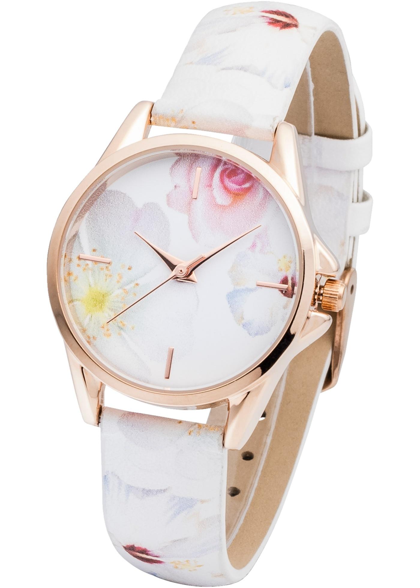 Montre de bpc avec bracelet à motif floral. Prix comprenant éco-participation (F)=0,01€ ou recupel (B) =0,05€.