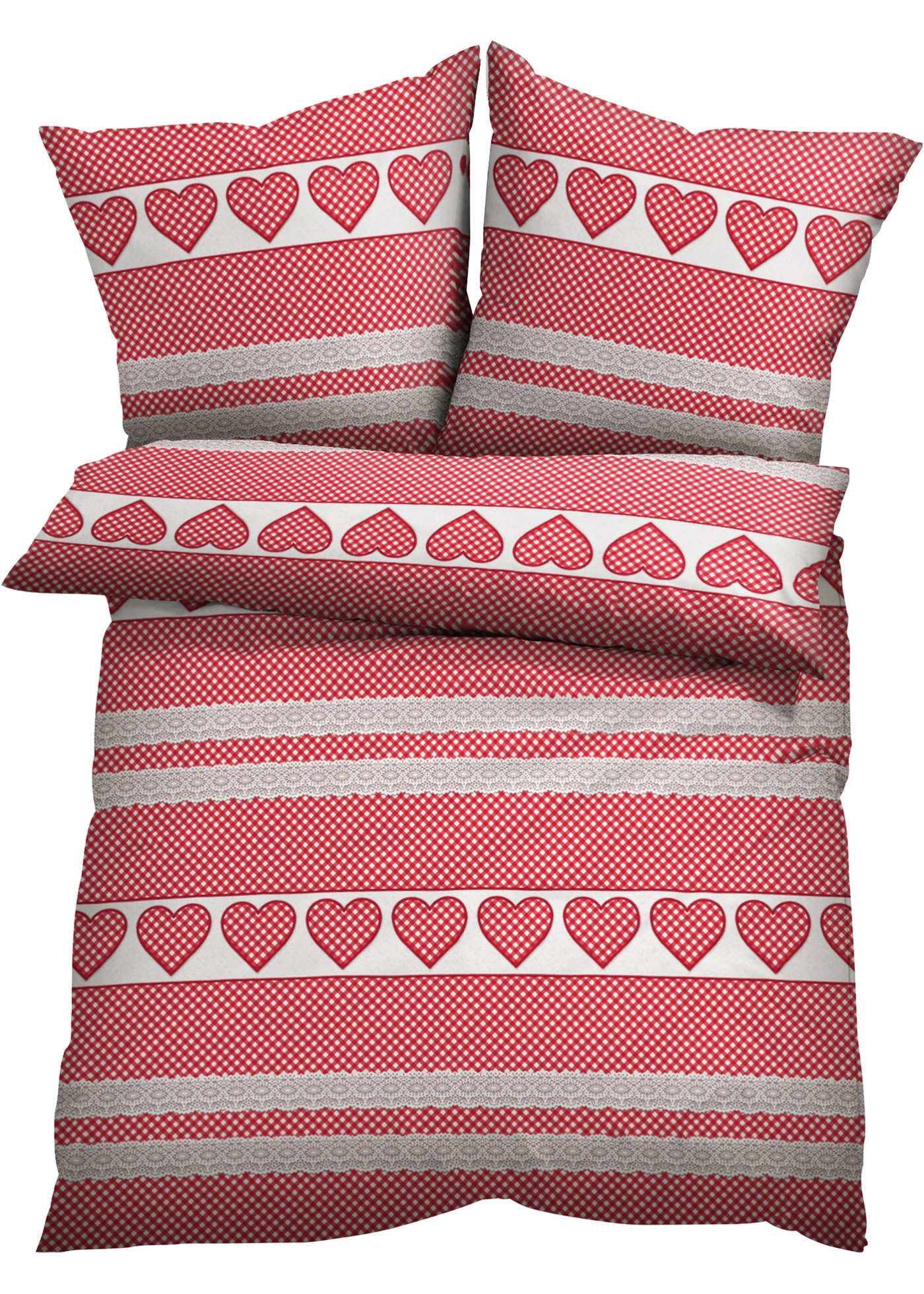 Linge de lit imprimé avec cœurs dans un esprit campagne.