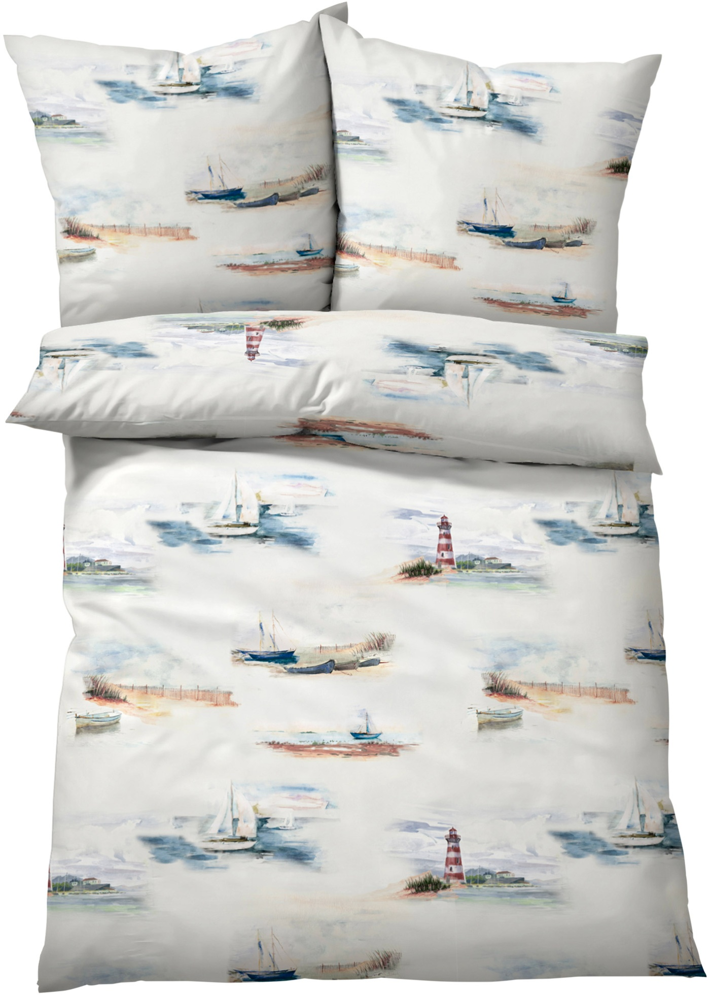 Linge de lit imprimé avec motifs phares et voiliers.