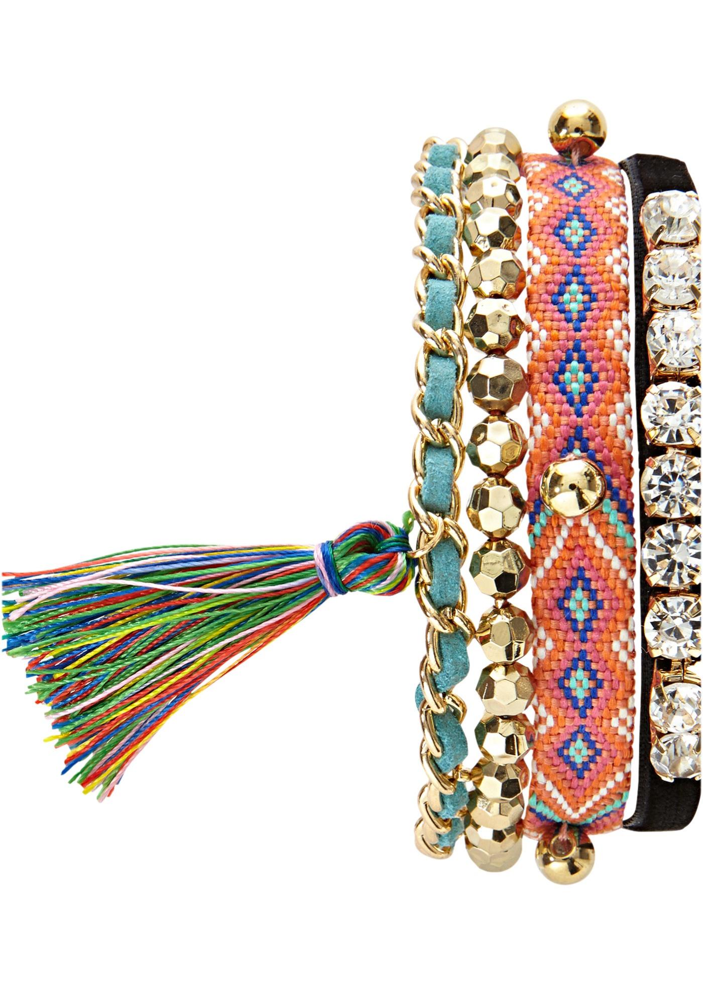 Bracelet élastique 3 rangs avec breloques multicolores. Dim. : longueur env. 16, cm - largeur : env. 3 cm.