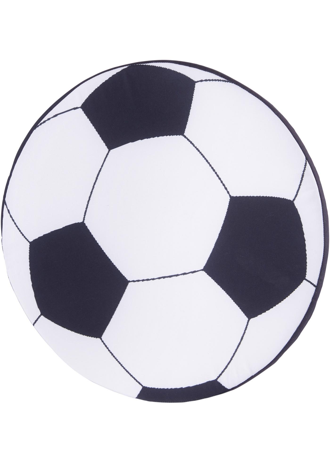 Coussin imprimé en forme de ballon de foot.