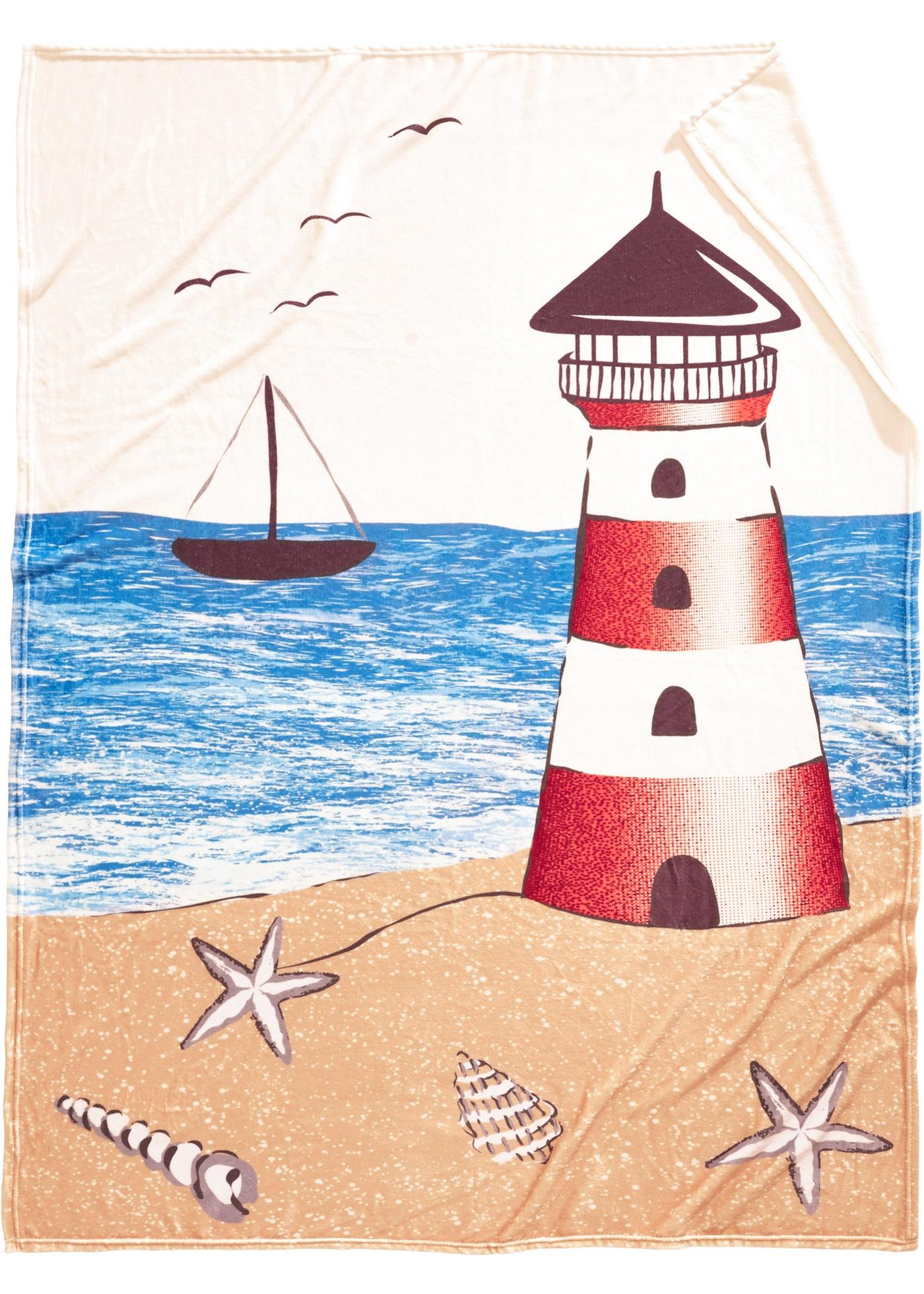 Couverture douillette à imprimé marin avec phare et voilier. Commandez aussi le linge de lit assorti de la série Martina.