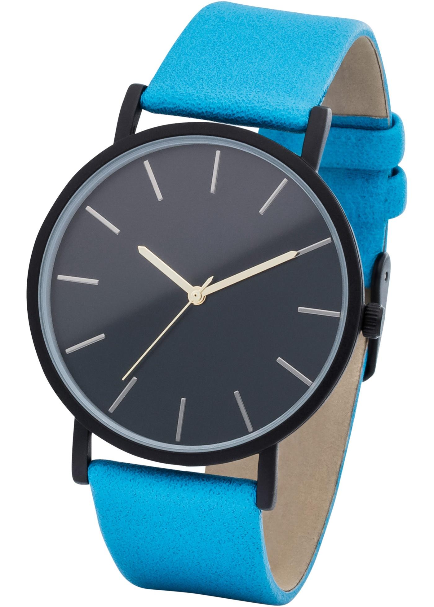 Montre avec bracelet en synthétique imitation cuir au design intemporel. Cadran plat classique. Dim. : diamètre cadran env. 4 cm, largeur bracelet env. 2 cm. Prix comprenant éco-participation (F)=0,01€ ou recupel (B) =0,05€.