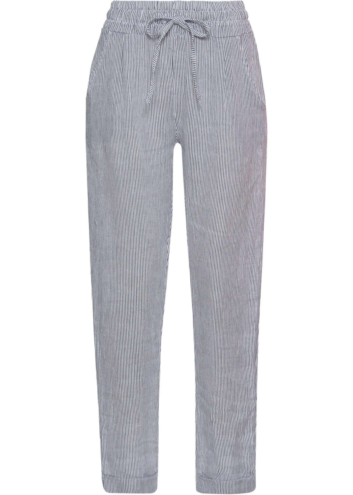 """Pantalon estival en lin de la marque BODYFLIRT. Le pantalon est doté d""""un large empiècement élastique à la taille et d""""un cordon à nouer. Avec poches latérales. Long. entrejambe env. 71,5 cm."""