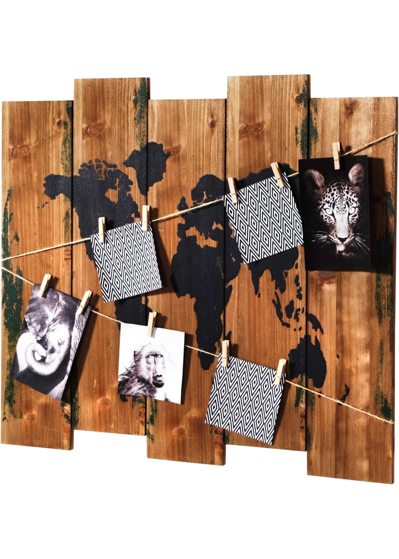 Mappemonde style vintage avec corde et 10 pinces à linge pour suspendre vos photos, cartes postales et autres souvenirs. H/l/P env. 53x60x2 cm.