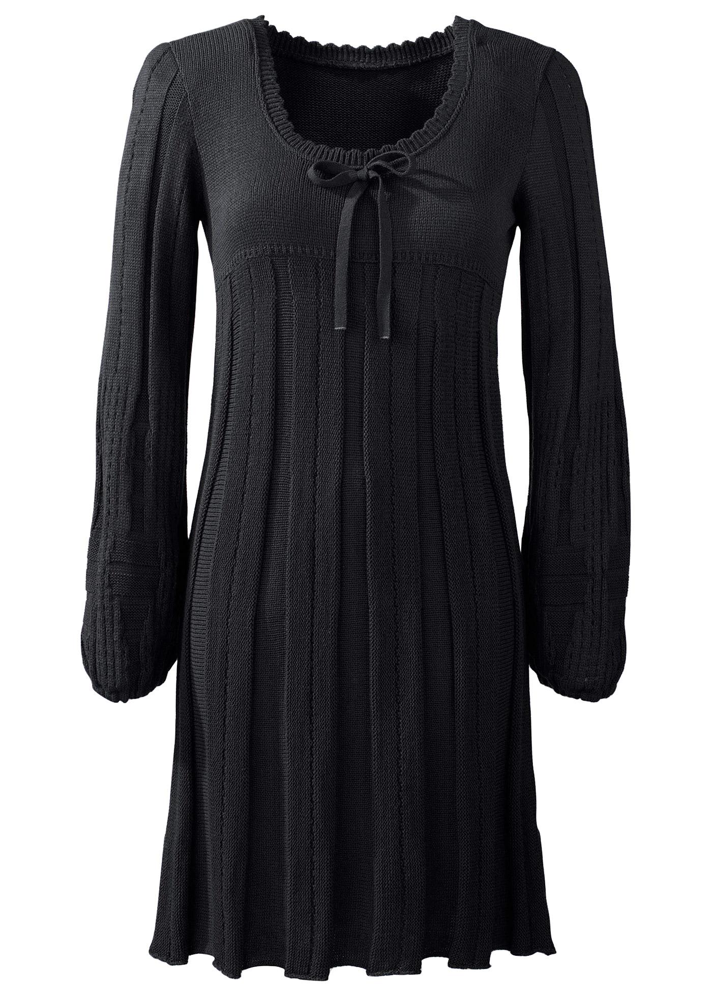Robe de soirée: robe en maille (noir) manches...