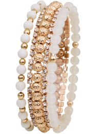 Set de 5 bracelets extensibles, bpc bonprix collection, doré/blanc