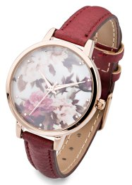Montre à bracelet avec motif floral, bpc bonprix collection, bordeaux