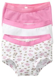 Lot de 3 shorties, bpc bonprix collection, rose/blanc