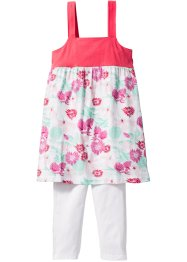 Robe + legging 3/4 (Ens. 2 pces.), bpc bonprix collection, blanc/fuchsia clair imprimé