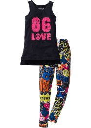 Top long + legging en jersey (Ens. 2 pces.), bpc bonprix collection, noir/imprimé multicolore