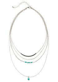 Collier 3 rangs, bpc bonprix collection, argenté/turquoise