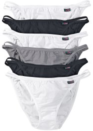 Lot de 6 tangas, bpc bonprix collection, noir/blanc/gris
