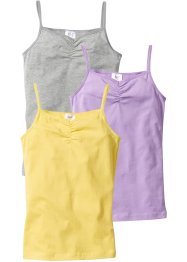 Lot de 3 tops, bpc bonprix collection, gris clair chiné/lilas/citron clair
