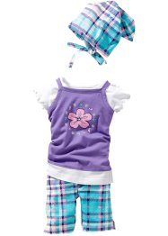 Robe + T-shirt + legging + foulard (Ens. 4 pces.) en coton bio, bpc bonprix collection, mauve/blanc