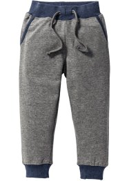 Pantalon sweat, bpc bonprix collection, gris chiné/bleu foncé