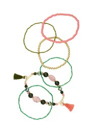 Set de 5 bracelets extensibles, bpc bonprix collection, olive/saumon