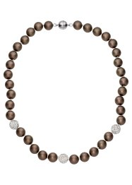 Collier série perles d'imitation culture, bpc bonprix collection, taupe foncé mat