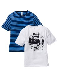 Lot de 2 T-shirts, bpc bonprix collection, bleu rayé/blanc