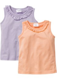 Lot de 2 tops à ruchés, bpc bonprix collection, mauve+pêche